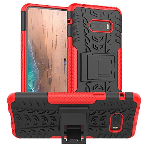 PUSHIMEI for LG G8X ThinQ Case,with Kickstand Hard PC Back Cover Soft TPU Dual Layer Protection Phone Stand Case Cover Compatible with LG G8X ThinQ/V50S ThinQ (Red Kickstand case)