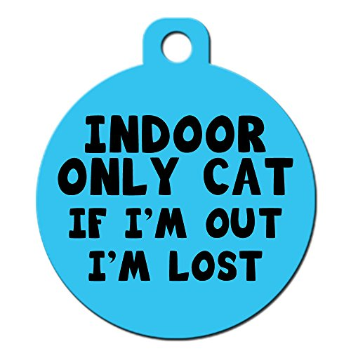 Big Jerk Custom Products Ltd. Cat Pet ID Tag - Customize Colors and Personalize Back of Tag with 4 Lines of Text (Indoor Only Cat If I'm Out I'm Lost)