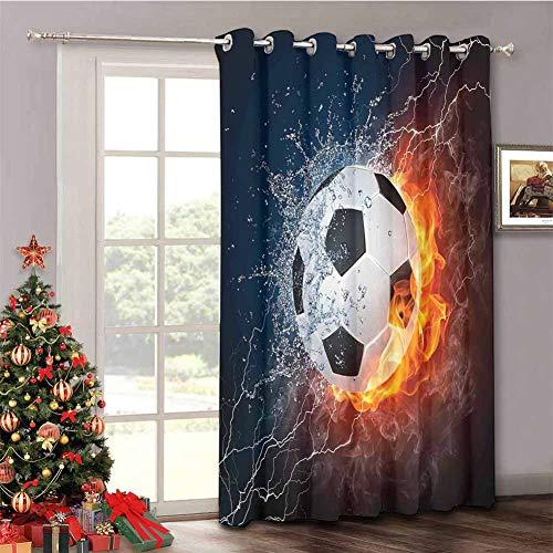Sports Decor - Cortinas aisladas para puerta corredera con aislamiento de pelota de fútbol en fuego y llama de agua, trueno rayo abstracto, cortinas divisoras insonorizadas de 132 x 236 cm
