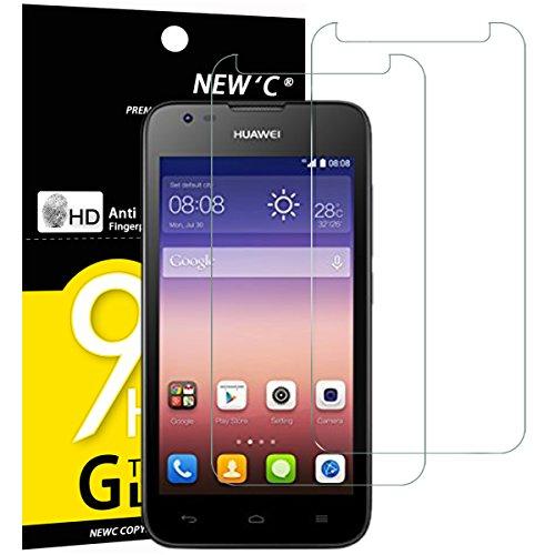 NEW'C 2 Stück, Schutzfolie Panzerglas für Huawei Ascend Y550 Huawei Y550, Frei von Kratzern, 9H Festigkeit, HD Bildschirmschutzfolie, 0.33mm Ultra-klar, Ultrawiderstandsfähig