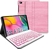 REAL-EAGLE Galaxy Tab A 10.1 2019 Backlit Keyboard Case SM-T510 SM-T515 SM-T517, 7 Color Backlights Detachable Wireless Keyboard Protective Case Cover for Samsung Galaxy Tab A 10.1 Inch 2019, Pink