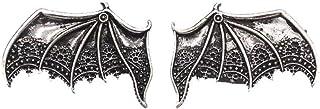 BLANCHO BEDDING 1 par de Pinzas de Pelo de ala de murciélago de Diablo Plateado Pinzas de Pelo góticas de Halloween Pinz...