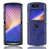 SPAK Motorola Razr 5G 2020 Hülle,Neuer Qualitäts Krokodilmuster Schutzhülle Harter Rückseitiger Abdeckungs Handyhülle für Motorola Razr 5G 2020 (Blau)