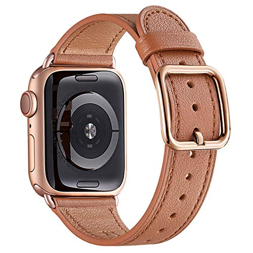 MNBVCXZ Pulsera compatible con Apple Watch 38 mm, 40 mm, 42 mm, 44 mm, correa de cuero de repuesto para iWatch Serie 6, 5, 4, 3, 2, 1,SE, diseño especial (38 mm, 40 mm, marrón/oro rosa).
