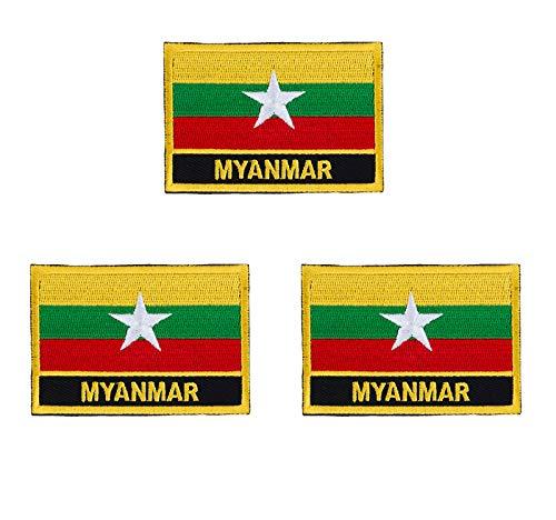 Myanmar-Flaggen-Aufnäher, bestickt, 3 Stück