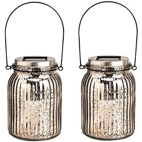 GIGALUMI Solar Powered Mercury Glass Mason Jar Lights, 2 Pack Hanging Solar Laterns Table Lights for...
