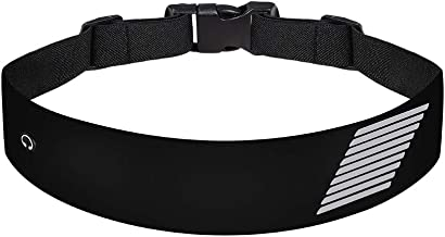 JiuXuan Running Waist Pack, Belt Bag with Earphone Hole Adjustable Waist Curve Elastic Band, Suitable for Men and Women, Convenience to Walk, Cycling, Mountaineering Trip. (Black)