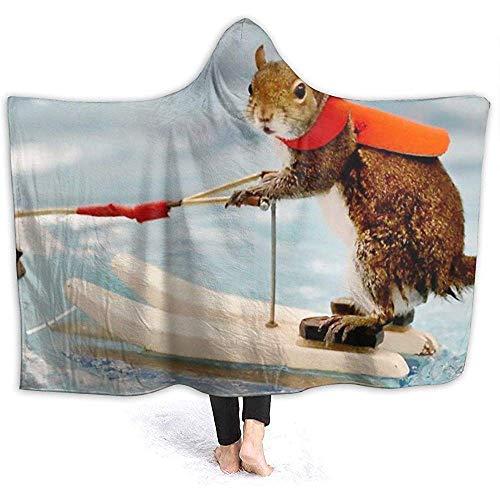 KL Decor Throw Blankets Surf Squirrel Hoodie Blanket Soft Cozy Throw Blanket voor volwassenen kinderen ontspanning 153 x 127 cm