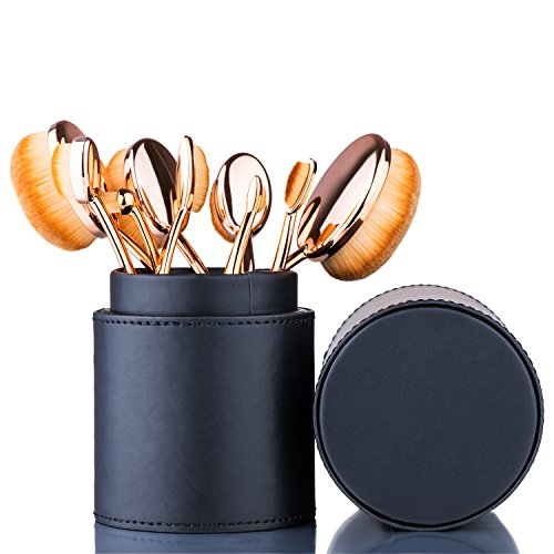 Oval Makeup Brush Set Toothbrush (Rose Gold Black)+ Makeup Organizer...