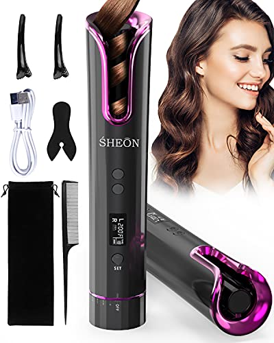 SHEON Hair Curler - Automatic Curling Iron with LCD Display and Adjustable...