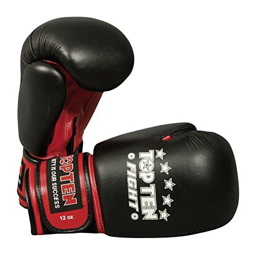 TOP TEN Erwachsene Boxhandschuhe Fight, Schwarz, 10