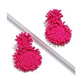 GLBCC Statement Drop Earrings for Women - Bohemian Beaded Round Dangle Earrings Idea Birthday Gifts for Mom, Wife Friend and Sisters (hot pink)