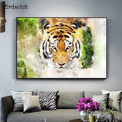 KWzEQ Imprimir en Lienzo Moda Acuarela Cabeza de Tigre Animal Carteles de Pared y decoración del hogar para Sala de estar30x45cmPintura sin Marco