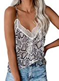 Happy Sailed Womens Lace V Neck Strappy Cami Tank Tops Summer Sleeveless Printed Shirts Blouses XL Multi