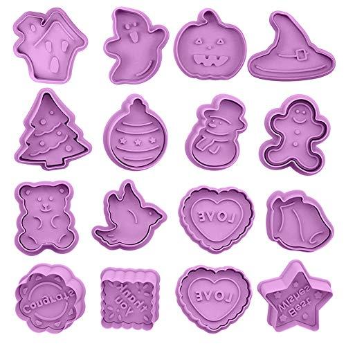 Halloween Moldes para Galletas, HOMEK Set de 16 Halloween Cortador de galletas Cortadores de repostería Moldes para Fondant Chocolate Repostería Acción de Gracias Navidad San Valentín