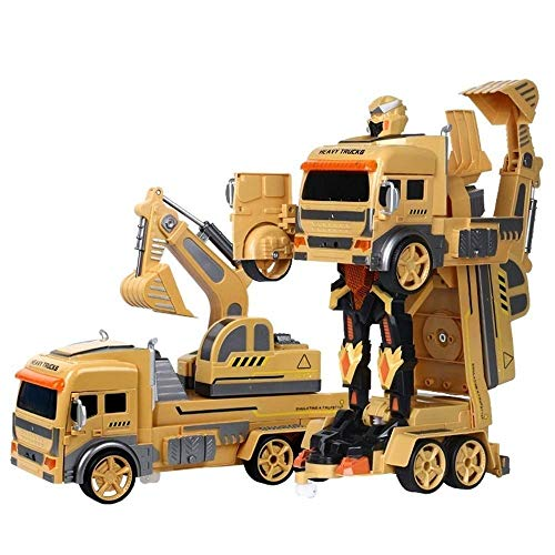 ZHWDD 2.4G RC Vehicle Engineering Pelle Deformation Dump Toupie télécommande électrique Transformateur Voiture Robot Jouet Enfants Garçons de fête d'anniversaire Cadeau de Noël (Couleur: B) hefeide