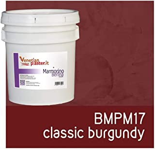 FirmoLux Marmorino Berlina Venetian Plaster | Smooth Plaster | Made in Italy from Lime, Marble & Other Natural Aggregates | Dark Red Tone Colors (16) | Color: BMPM17 Classic Burgundy