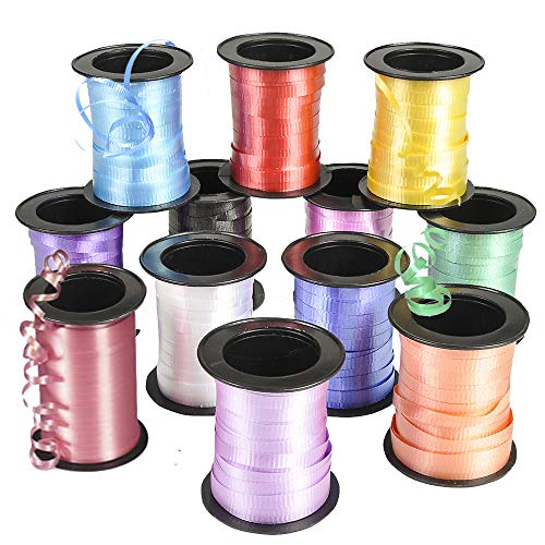 Bedwina Curling Ribbon - (Pack of 12) Assorted Colors Variety, 60 Feet per Roll for Fabric Ribbon, Crafts, Bows, Gifts, Wrapping, Balloons, Florists, Showers and More