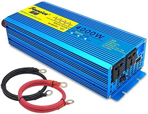 Transformador de corriente de onda sinusoidal pura para coche, 2000 W/3000 W/4000 W/5000 W/6000 W/8000 W CC 12 V/24 V a CA 230 V, convertidor con 2 enchufes y puertos USB (4000 W, 12 V)