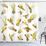 ABAKUHAUS Bunt Duschvorhang, Pfirsich-Gesichts-Liebes-Vögel, mit 12 Ringe Set Wasserdicht Stielvoll Modern Farbfest & Schimmel Resistent, 175x180 cm, Mehrfarbig