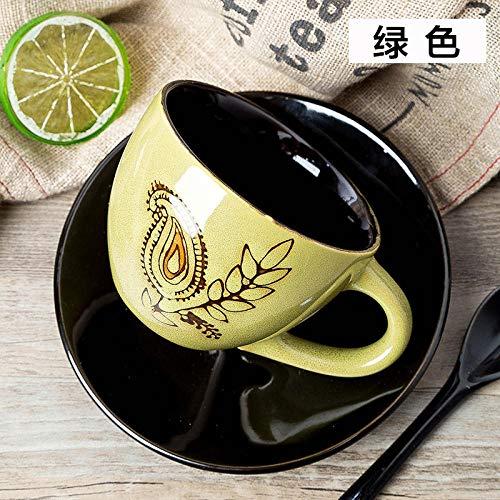 IRCATH Mug-Haushalts-koffiemok, keramiek, eenvoudige koffiekop, lepelset, met latte cup, retro