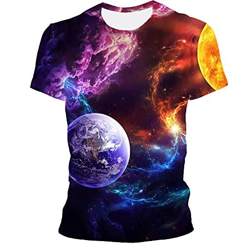 Camisetas Hombre,Moda De Verano De Manga Corta Starry Sky Elements Camiseta Impresa En 3D Tops Ropa De Calle Unisex, Colorida 7, Mediana