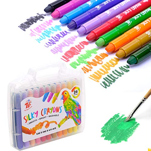 TBC The Best Crafts 24 Colors Silky Gel Crayons Set, Washable 3-in-1 Smooth Bolder Crayons, Pastel and Watercolor Effects with hard handle case, Ideal Gifts for Kids