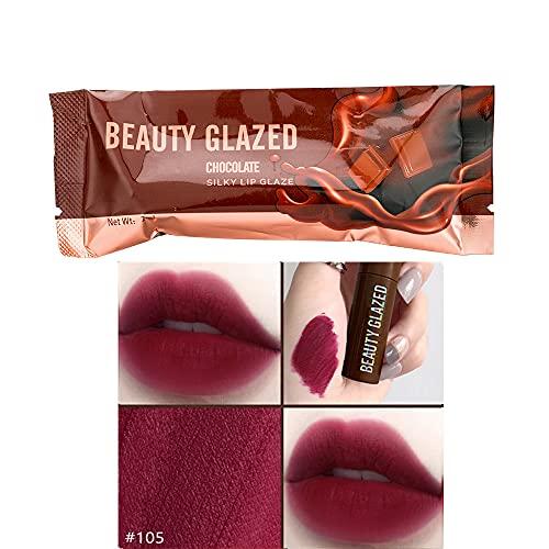 Beauty Glazed Chocolate Lipstick Matte Lip Glaze Velvet Matte Smooth Plush Matte excelente rendimiento a prueba de agua Brillo de labios Sexy Red Lip Makeup Cosmético # 105 Vino tinto