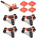 Ronlap 6-Inch Steel Tri-Dolly, 3 Wheels Furniture Mover's Dolly with Lifer, Heavy Furniture Moving Rollers Leg Dolly, Moving Triangle Dolly Swivel Caster, 500 Lbs Capacity Each Pack, 4 Pack, Orange