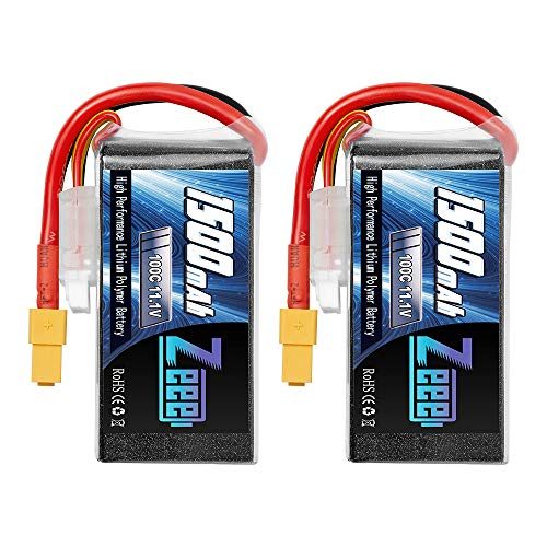 Zeee 3S 1500mAh Lipo Battery 11.1V 100C Soft Case Battery with XT60 Plug for FPV UAV Helicopter Airplane Drone Quadcopter RC Boat RC Car RC Models (2 Pack)