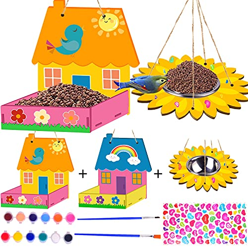 Kids Arts and Crafts 3 Pack Bird Feeders for Outdoor, DIY Bird House Kit...