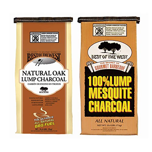 Best of the West All Natural Mesquite and Oak Hard Lump Charcoal for Outdoor Barbecue Grill Cooking, 15.4 Pound Bag