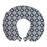 ABAKUHAUS Geométrico Cojín de Viaje para Soporte de Cuello, Cuadrados Rayado Abstracto, de Espuma con Memoria y Funda Estampada, 30x30 cm, Violeta Azul Púrpura