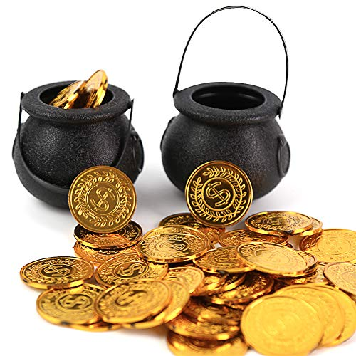 FUTUREPLUSX Mini Black Candy Cauldron Kettles, 2PCS Plastic Candy Kettles Party Decoration Supplies for Halloween with 50 Plastic Gold Coins
