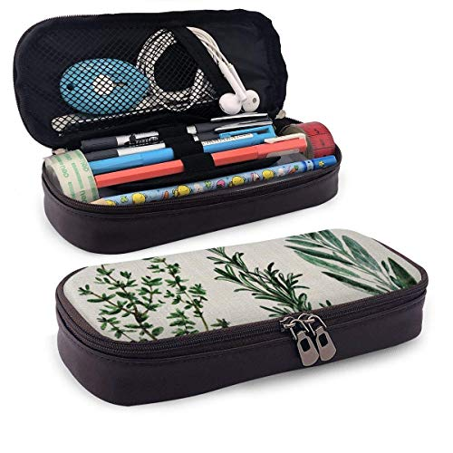 Bürobedarf & Schreibwaren Federmäppchen Synthetic Leather Pencil Case Tropical Plant Palm Tree Leaves Pen Pouch Holder Zipper Pencil Cosmetic Makeup Pouch Bag for School Work Office