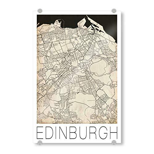 artboxONE Acrylglasbild 120x80 cm Städte Retro Map of Edinburgh Scotland 3' - Bild Retro Map Retro