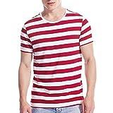 Mens Striped Shirt Basic Even Stripe Tee Basic Pattern T Shirt Top Red White XL