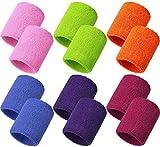 Muñequeras de Algodón 12 Piezas Muñequeras Sudor 8 x 8 cm / 3,15 x 3,15 pulg 6 Colores para Tenis...