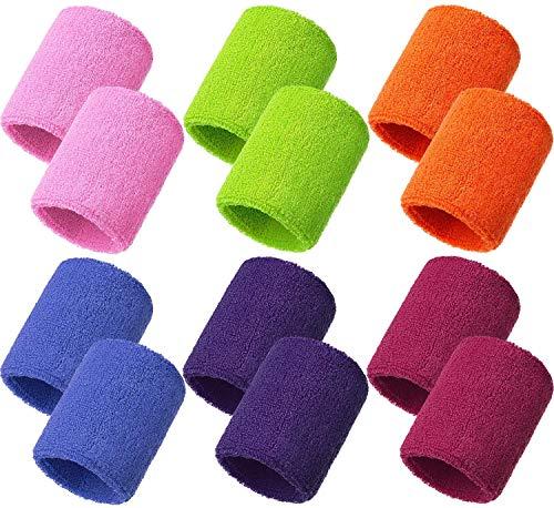 Muñequeras de Algodón 12 Piezas Muñequeras Sudor 8 x 8 cm / 3,15 x 3,15 pulg 6 Colores para Tenis Baloncesto Gimnasio Yoga Béisbol Correr