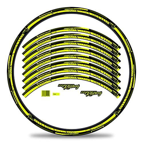 Finest Folia Set di 16 adesivi per cerchioni della bicicletta, design a strisce, set completo per bici da strada, mountain bike, bici da corsa (giallo neon, lucido)