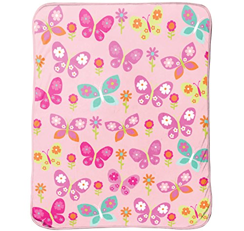 Just For Kids Butterfly 50' x 60' Plush Throw Blanket, Pink/Blue/Yellow/Teal