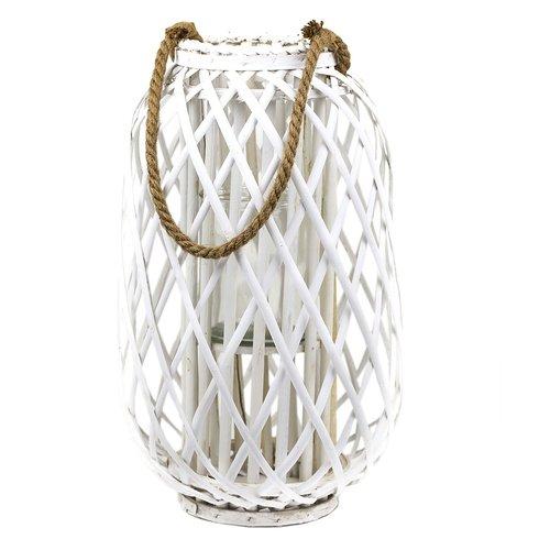 Laterne Rattan mit Glas-Windlicht, weiss, Höhe ca. 50cm