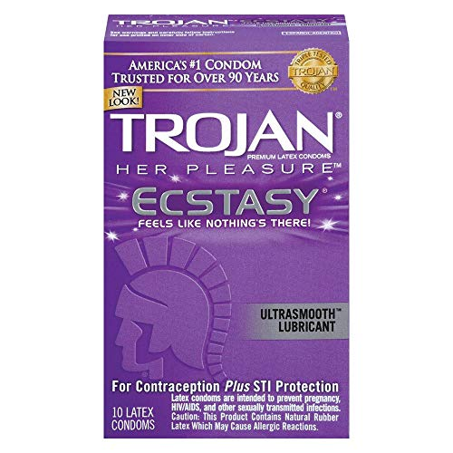 Trojan Her Pleasure Ecstasy UltraSmooth Lubricated Latex Condoms - 10ct, Pack of 3