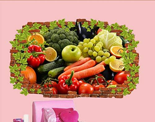 HQSM Pegatinas de pared Verduras orgánicas Frutas saludables Pegatinas de pared Mural de la escuela de arte 3D