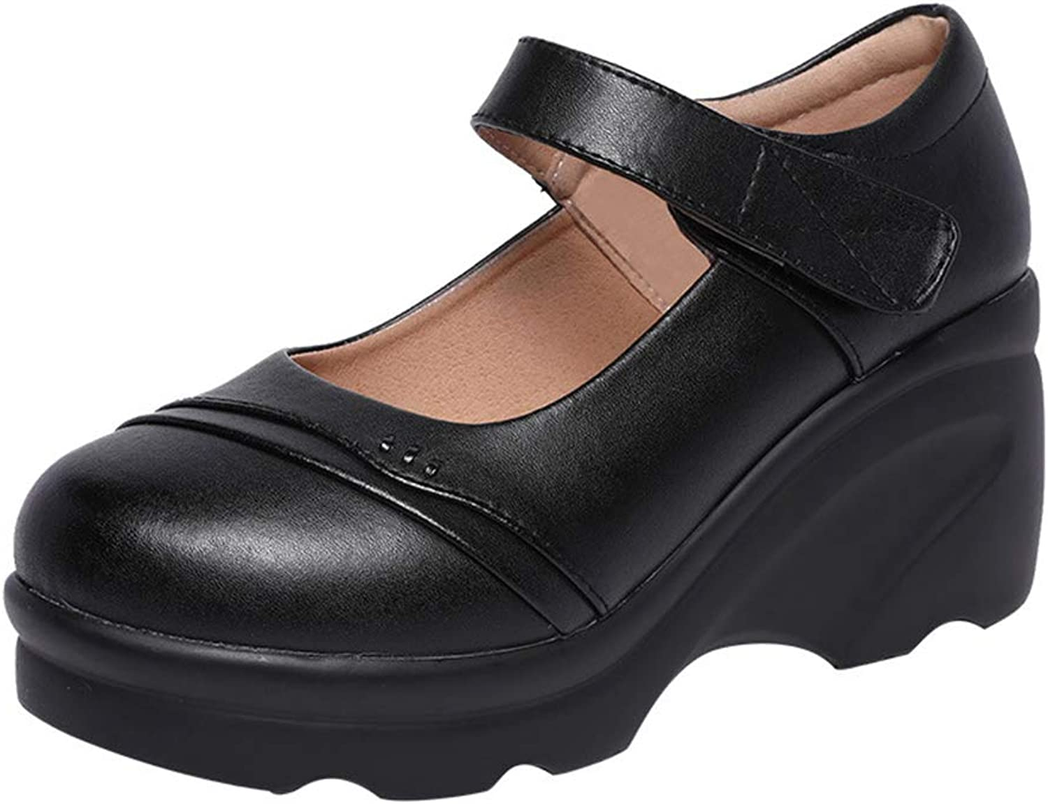 Women's Fashion shoes Platform shoes High-Heeled shoes Wedges Middle-Aged Mother shoes Wedding Party & Evening Dress shoes (color   Black, Size   39)