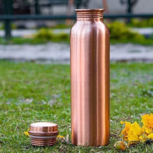 UDDHAV GOLD Copper Bottle, Set of 1, 1000 ml, Brown