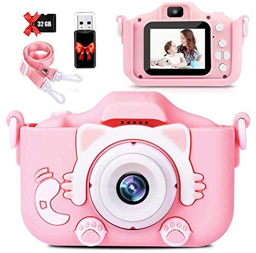【2021新しい】子供用 カメラ Donop 人気 子ども用 デジタルカメラ トイ 防水 女の子 男の子 誕生日プレゼント 知育 教育 2000万画素 1080P 自撮可能 32GBSDカードと日本語取扱説明書が付属 (キャットパウダー)