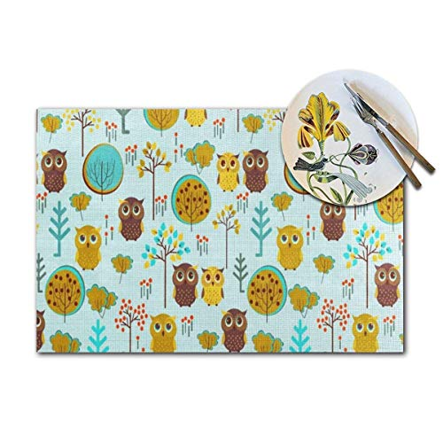 Cute Owl Tree Branch Woven Placemats Set of 4 Pcs Heat-Resistant Washable Table Non-Slip Place Mat for Dining Table 12 X 18 Inches