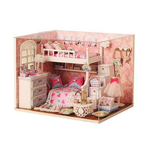 EisEyen Color Rosa niña DIY Casa de Muñecas (Resistente al Polvo con Accesorios–sueño fangender Ángel Secreto de vestuarios
