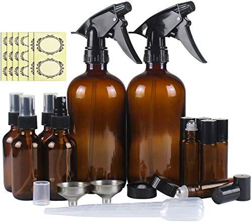 futureyun Botellas de spray, 12 botellas de cristal vacías, rellenables para aceites esenciales, limpieza, pulverizador de gatillo duradero con ajustes de flujo de niebla
